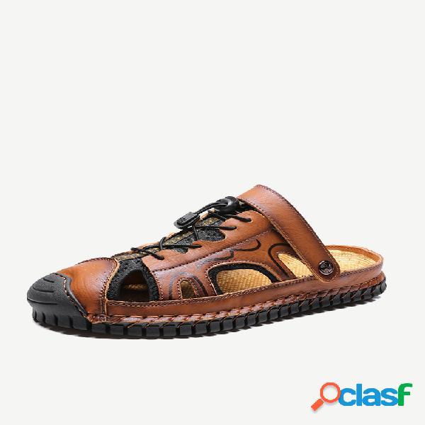 Puntera de goma para hombre costura a mano al aire libre cuero sandalias