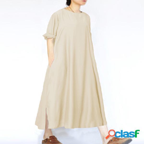 Vendimia o-cuello dividido color sólido plus tamaño vestido con bolsillos