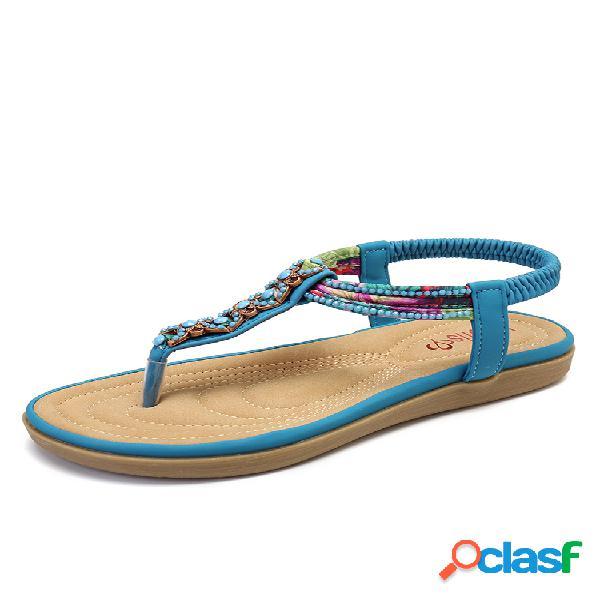 Lostisy decoración con cuentas comfy clip toe playa plano elástico sandalias