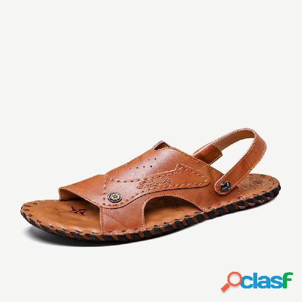 Hombre costura a mano correa ajustable comfy soft suela playa cuero sandalias