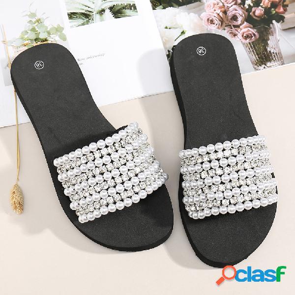 Mujer rhinestone elástico banda soft botín casual casual zapatillas