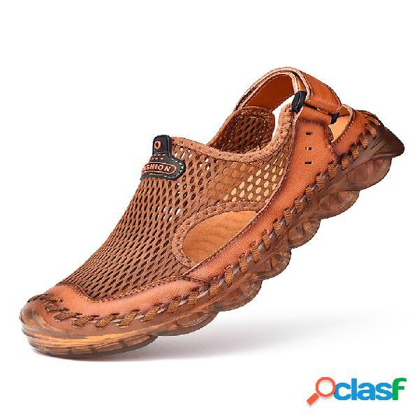 Zapatos de agua de malla con costura a mano con punta cerrada para hombre al aire libre