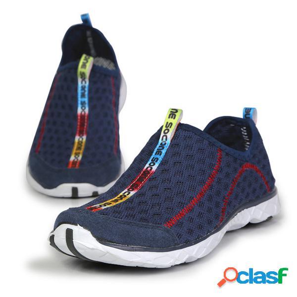 Zapatos planos transpirables de colores combinados slip on de tamaño grande de deporte