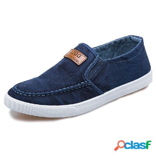 Hombre canvas bereathbale suela plana y suave slip on casual shoes