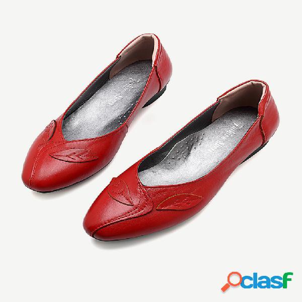 Mujer oficina hoja zapatos planos de cuero sin cordones