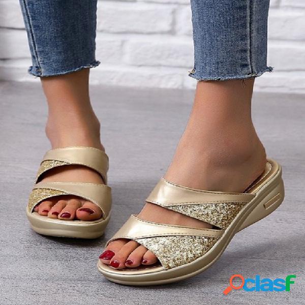 Tallas grandes para mujer doble banda color sólido lentejuelas al aire libre plataforma zapatillas
