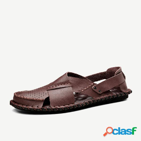 Agujero de costura hombre mano cuero transpirable sandalias