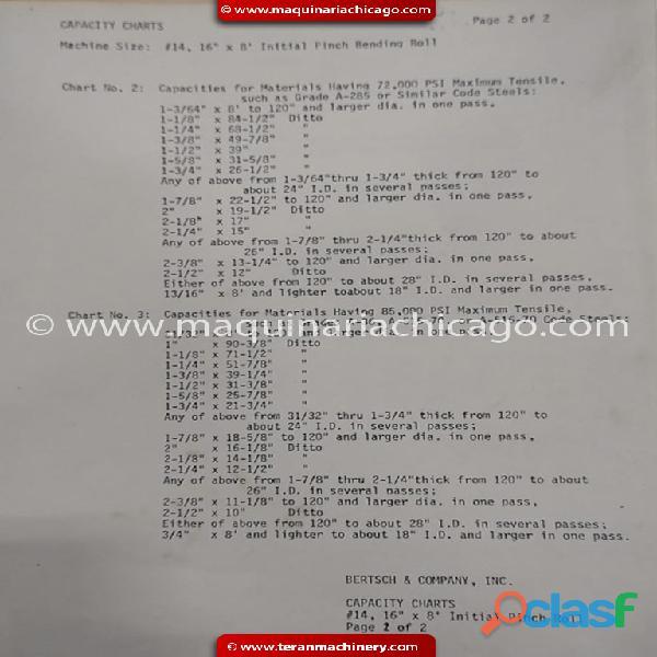 """Roladora de placa BERTSCH 8' x 1 5/32"""" en Venta 4"""