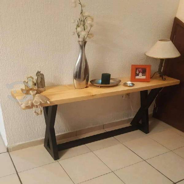 Mesa rustica vintage industrial para recibidor.