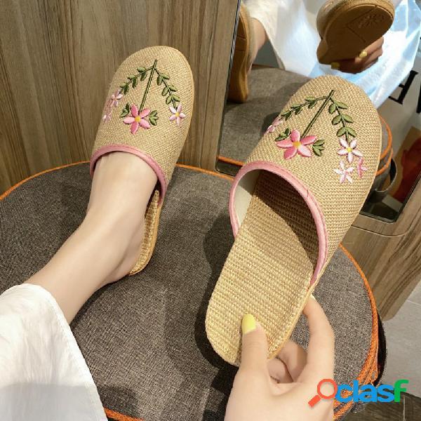 Mujer bordado de flores de lino cómodo sudor cerrado dedo del pie zapatillas