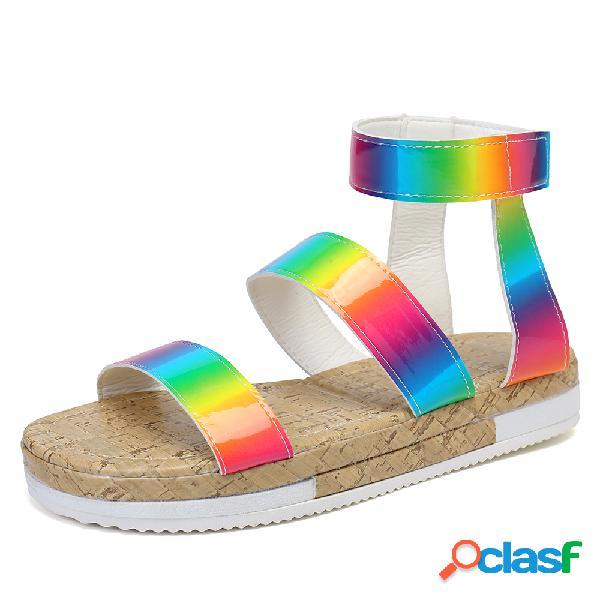 Mujer puntera abierta de gran tamaño rainbow gancho plataforma de bucle sandalias