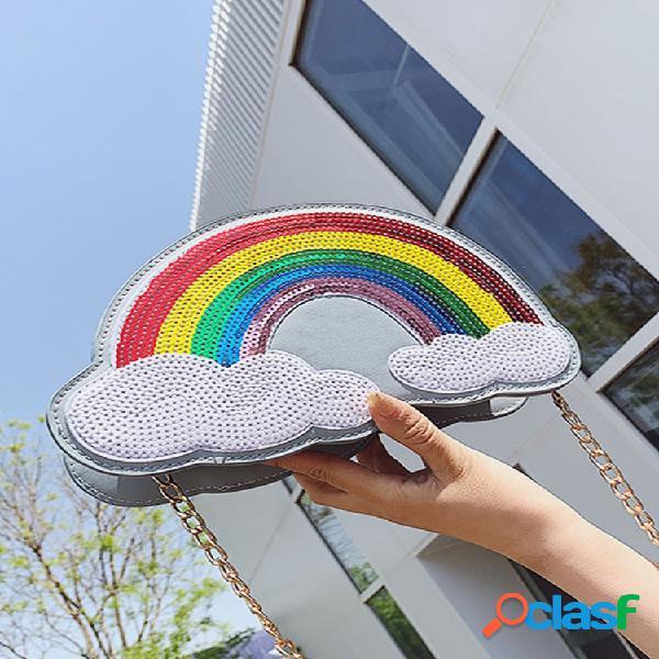 Mujer rainbow clouds chain luminous cute shoulder bolsa crossbody bolsa