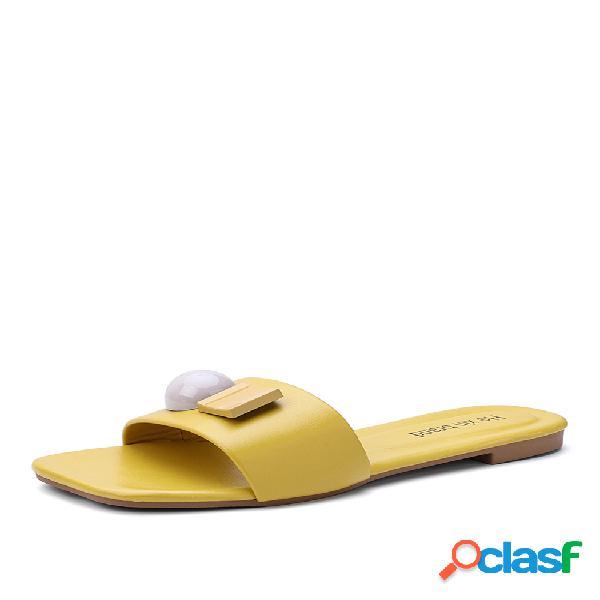 Mujer sweet decor square toe comfy antideslizante playa zapatillas