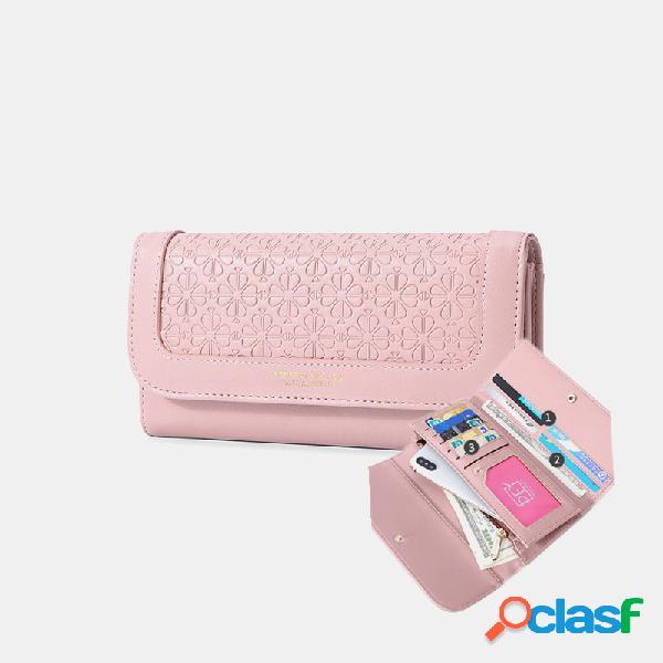 Mujer gofrado triple ranuras para tarjetas múltiples teléfono para tarjetas fotográficas bolsa monedero con clip para dinero