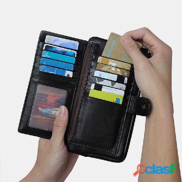 Mujer rfid piel genuina ranuras para tarjetas múltiples teléfono bolsa monedero con clip para dinero