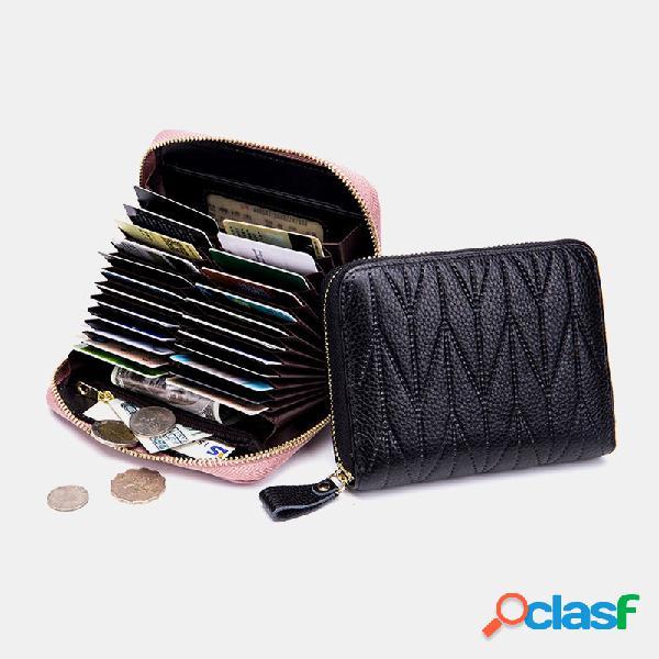 Mujer piel genuina ranuras para múltiples tarjetas clip de dinero paquete de identificación monedero monedero monedero