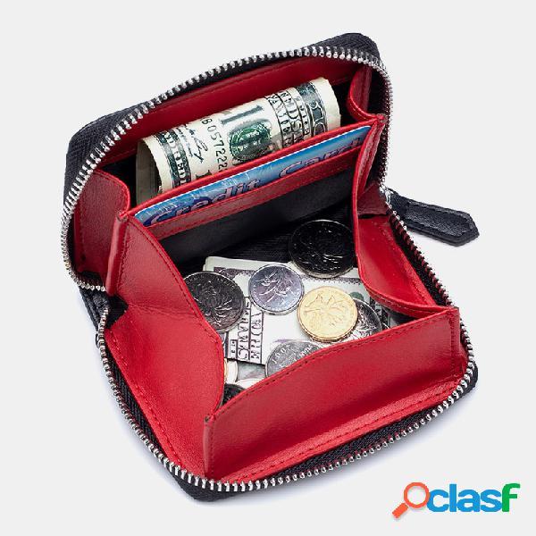 Mujer piel genuina rifd monedero con clip para dinero monedero monedero