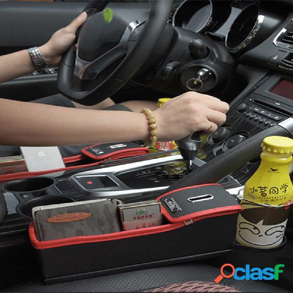 Espacio de almacenamiento para asiento de automóvil caja portavasos de agua multifunción de cuero para automóvil almacenamiento de monedas caja