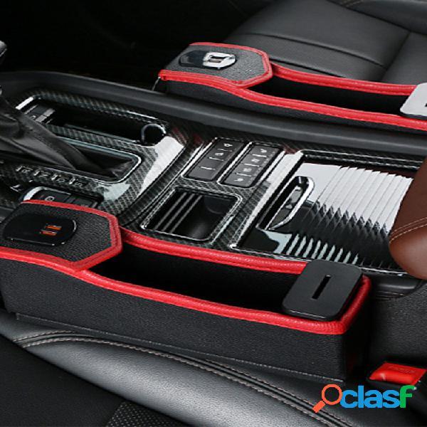 Espacio de almacenamiento para el asiento del automóvil caja carga usb cinturón digital pantalla almacenamiento caja portavasos de agua multifunción de cuero para automóvil