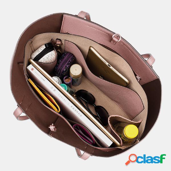 Mujer 2pcs pu llavero multibolsillos de gran capacidad 15.6 inch laptop bolsa bolso de mano