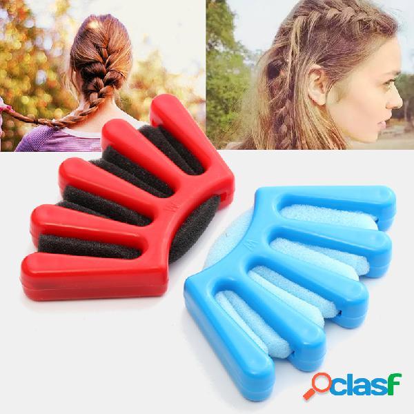 3 colores cinco dedos diseño señora cabello trenzado herramienta giro cabello estilo de trenzado herramienta diy accesorio