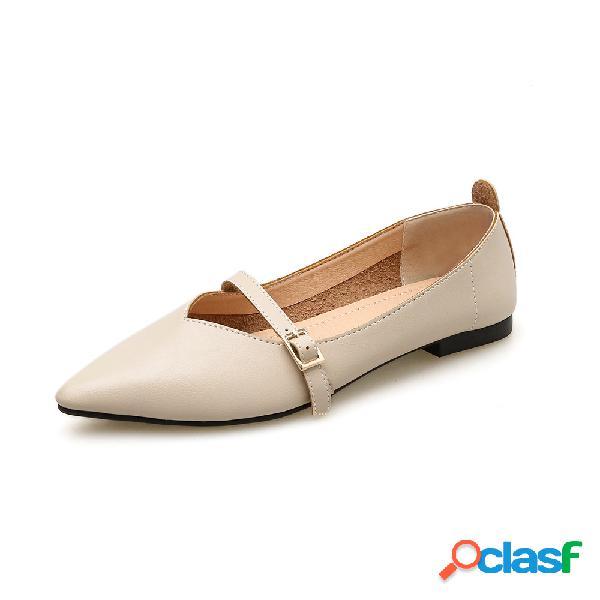 Mujer hebilla de boca plana puntiaguda soft zapatos planos