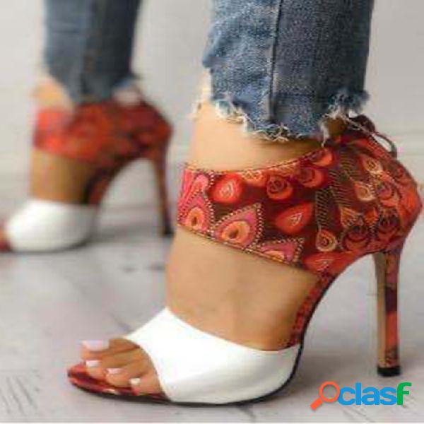 Mujer plus talla fiesta impresión cremallera tacón alto peep toe abierto sandalias