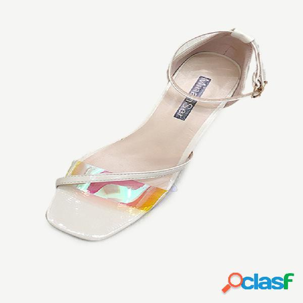 Mujer sandalias temporada nueva moda transparente cara stiletto sandalias mujer salvaje tacón alto punta abierta sandalias