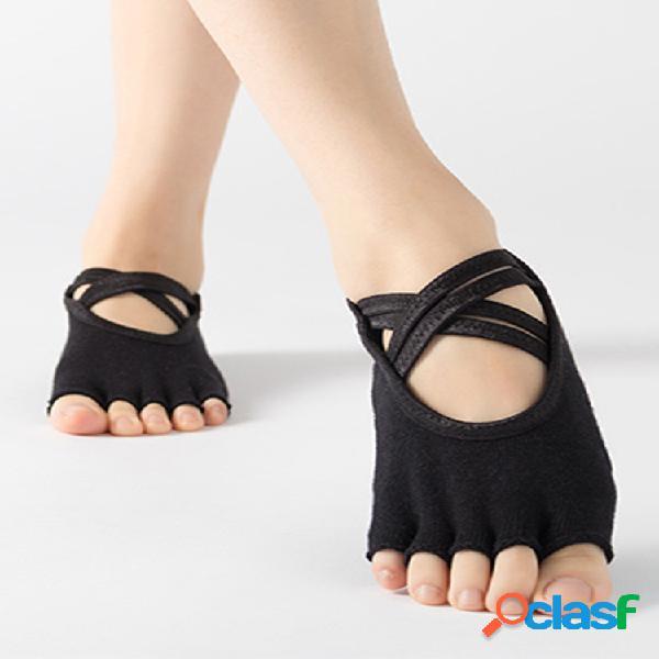 Felpa para mujer yoga calcetines cinco dedos calcetines doble cruz con antideslizante calcetines