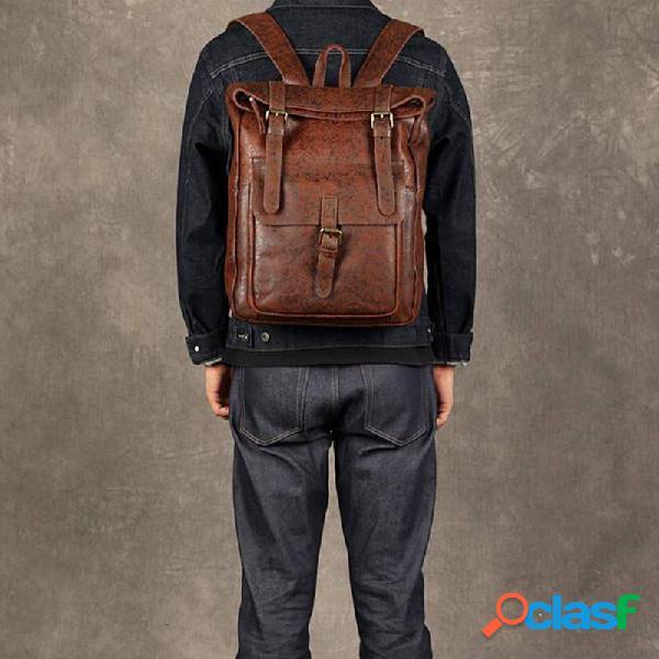 Hombres mujer cuero de pu vendimia mochila captial grande bolsas para portátil escuela bolsa hombro bolsa
