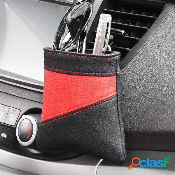 Cuero coche almacenamiento de ventilación de aire bolsa soporte para teléfono cubo de almacenamiento de artículos diversos bolsa de bolsillo colgante