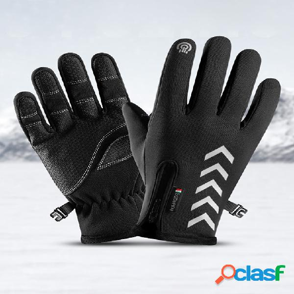 Ciclismo cálido guantes impermeable deportes antideslizante pantalla táctil de cinco dedos reflectante nocturna guantes