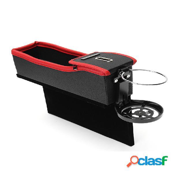 2pcs coche espacio de almacenamiento de asiento bolsa moneda caja portavasos de bebidas bolsillo de franela de cuero para asiento de vehículo