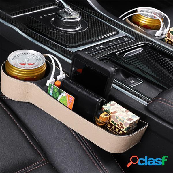 Espacio de almacenamiento para asiento de automóvil caja almacenamiento de carga usb caja portavasos de agua multifunción de cuero para automóvil