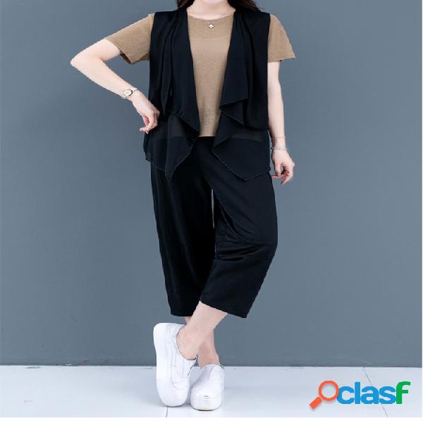 Mujer chaleco camiseta de manga corta traje de tres piezas