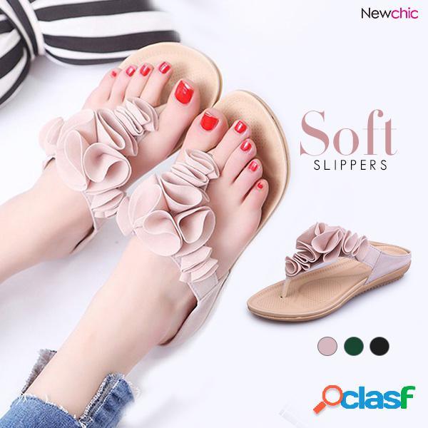 Mujer playa soft chanclas de gamuza planas zapatillas