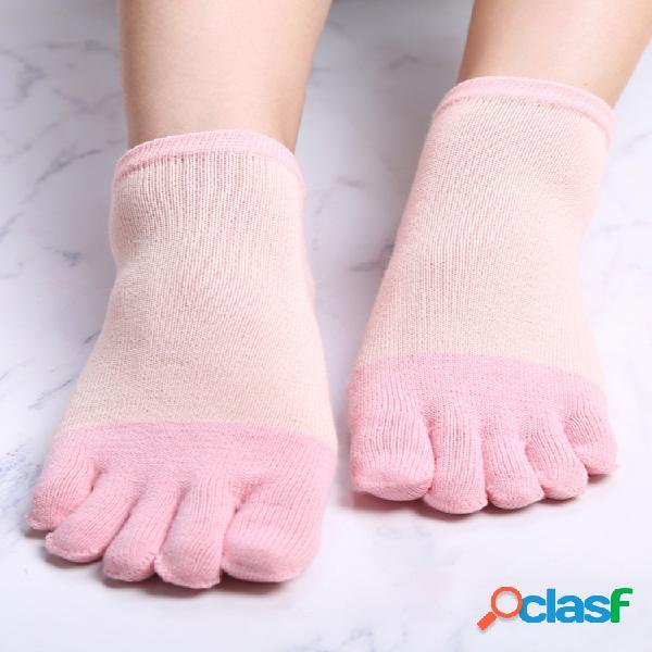 Mujeres tubo corto de cinco dedos calcetines casual soft grueso transpirable soft combinación de desodorante calcetines