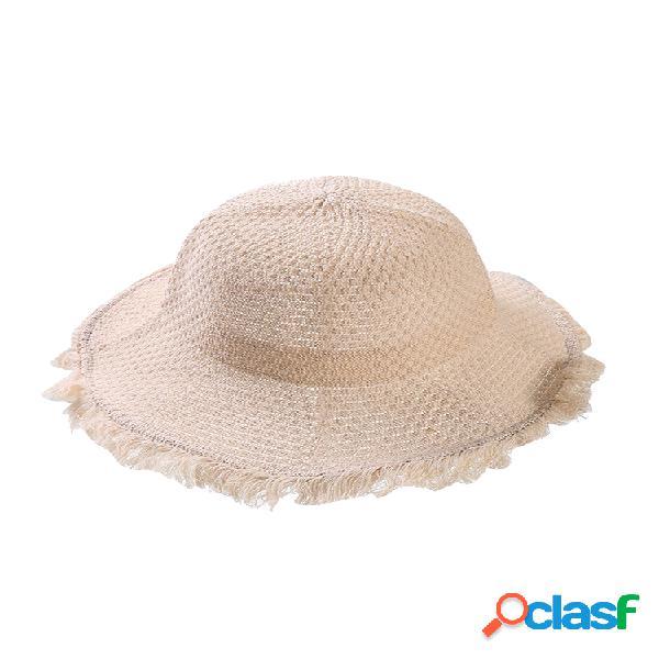 Mujer plegable algodón lino sun playa sun sombrero al aire libre summer travel sun sombrero
