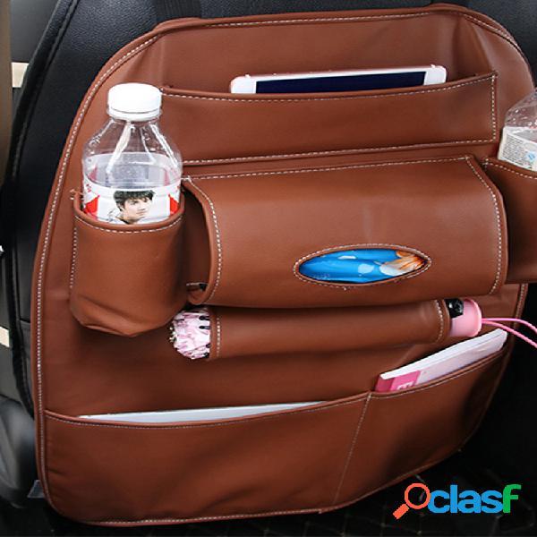 Silla de cuero con almacenamiento en el respaldo bolsa multifunción coche juego caja respaldo bolsa colgante al aire libre bolsa