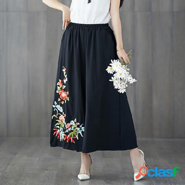 Bordado ancho de la pierna de la mujer pantalones algodón y lino sueltos de gran tamaño cintura elástica pantalones