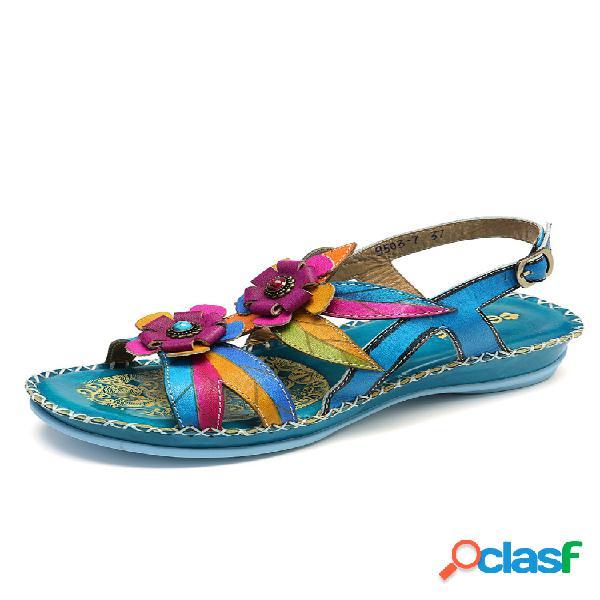 Socofy piel genuina empalme pintado a mano retro costura floral soft correa con hebilla sandalias