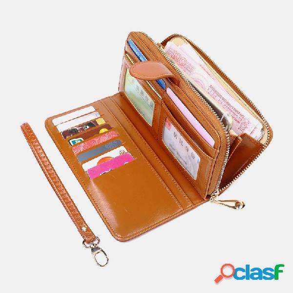Mujer cuero pu ranuras para tarjetas múltiples teléfono para tarjetas fotográficas bolsa monedero con clip para dinero