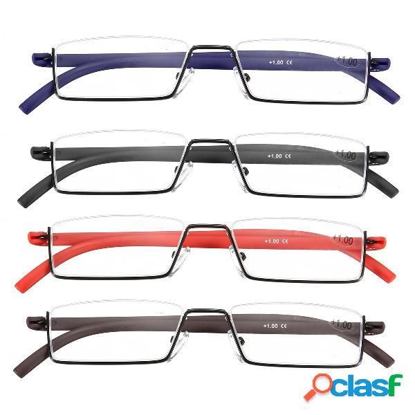 Lectura de media montura gafas gafas cómodas no deformables gafas con caja cuidado personal de los ojos