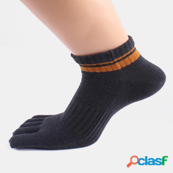 Mens stripe patrón desodorante transpirable deporte casual algodón cinco dedos calcetines