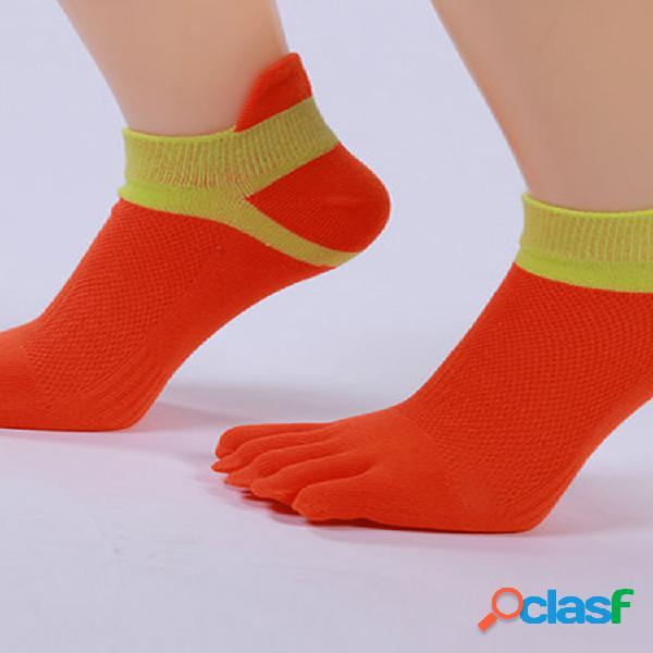 Mujer algodón calcetines ejercicio deportivo yoga calcetín antideslizante cinco dedos calcetines