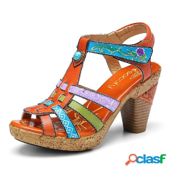 Socofy bohemia de cuero retro impreso strappy chunky tacón alto sandalias