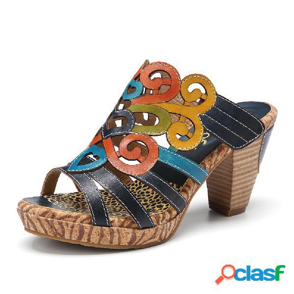 Socofy sandalias de leopardo con punta abierta y costura de cuero bohemia tacón alto sandalias