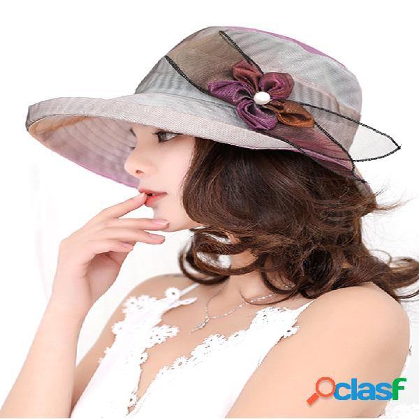 Malla plegable de ala ancha sombrero tapa anti uv para lady flower playa sol sombrero para mujer elegante verano sombreros