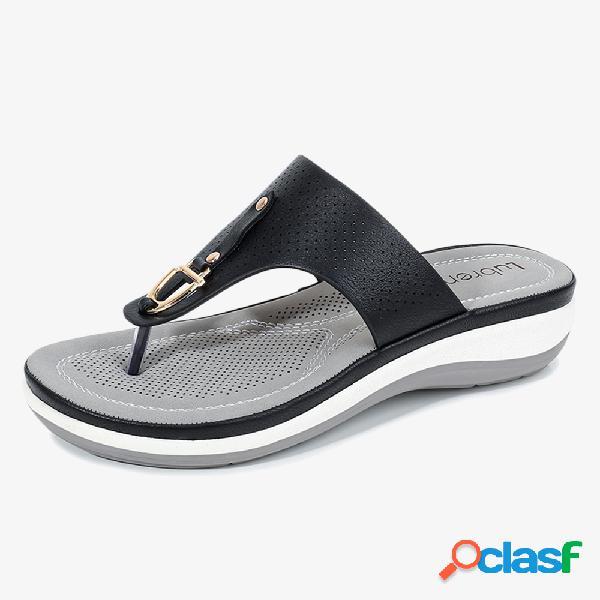Mujer chanclas de decoración metálica de verano cómodo clip para el dedo del pie sandalias