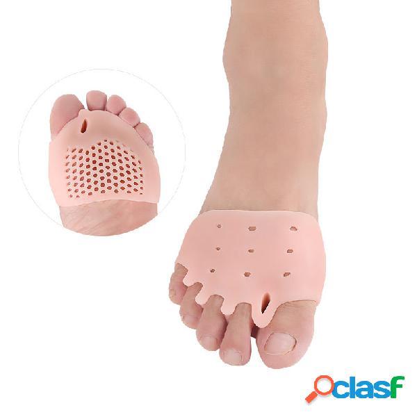 1 par corrector separador de dedos de cinco orificios anti almohadilla delantera para pies con absorción de impactos de superposición hallux valgus